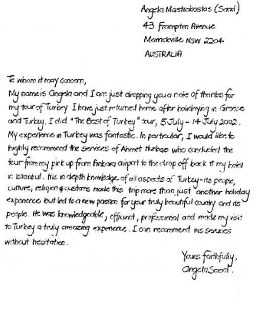 Letter Of Mrs Angela Mastrokostas Saad Best Turkey Tour On Jul 05